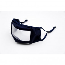 SMILE MASK REUSABLE CLOTH MASK WITH TRANSPARENT PANEL - NAVY BLUE (EACH)