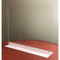 "COUNTERTOP SHIELD - 32"" CLEAR ACRYLIC WITH DOUBLE SIDE BASE & PASS THROUGH"